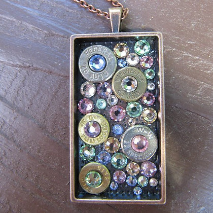 Dog Tag Bullet Necklace-Pastel