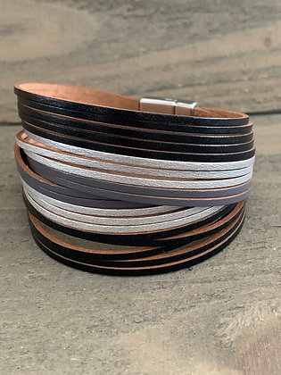Black and Silver  Leather Magnetic Bracelet