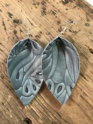Denim blue embossed leather earrings