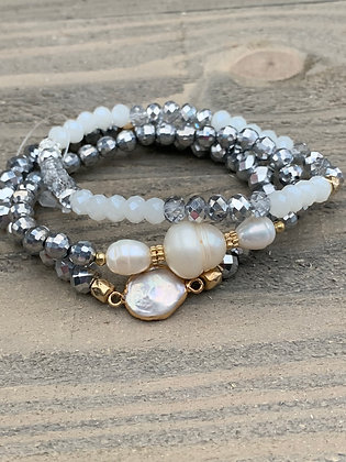 Silver, White and Pearl Triple Stacked Stretch Bracelet Set