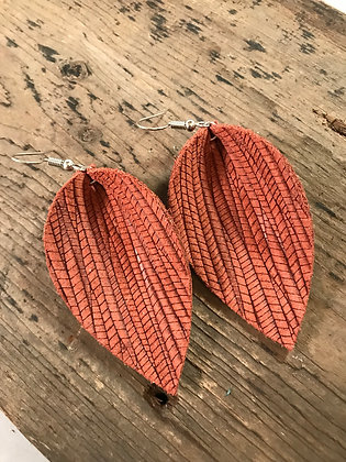Cinnamon palm leaf textured leather earring