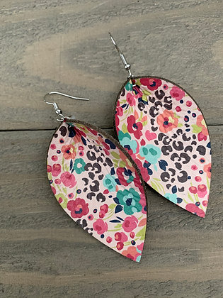 Floral Leopard Leather Earrings