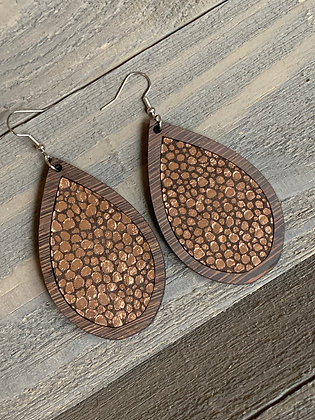 Copper Brown Stingray Leather and Wood Teardrop Earrings
