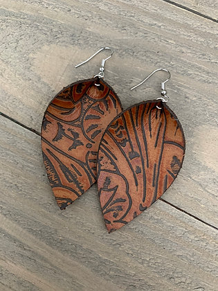 Saddle Brown Western Floral Leather Earrings
