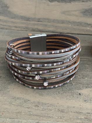 Grey Tiled Leather Magnetic Bracelet