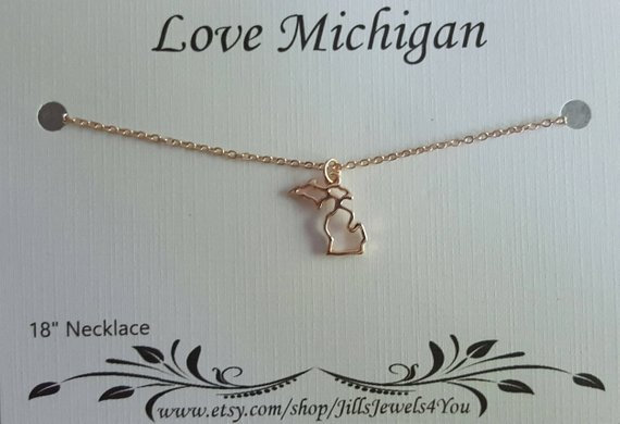 Michigan Charm Necklace - Rose Gold