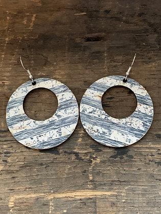 Blue and White Stripe Cork Hoop Earring