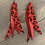 Thumbnail: Red Leopard Stacked Fringe Feather Earrings