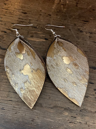 Gold Acid Wash Hair On Leather Earrings