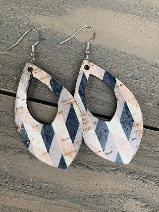 Black and Tan Chevron Cork Teardrop Earring