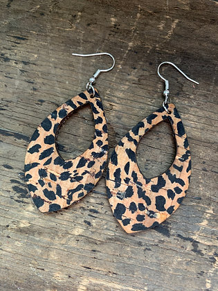Cheetah Print Cork Teardrop Earring