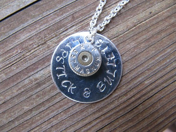 Lipstick and Bullets- 375 Caliber Necklace