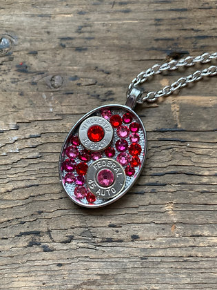 Pink and Red and Oval Bullet necklace