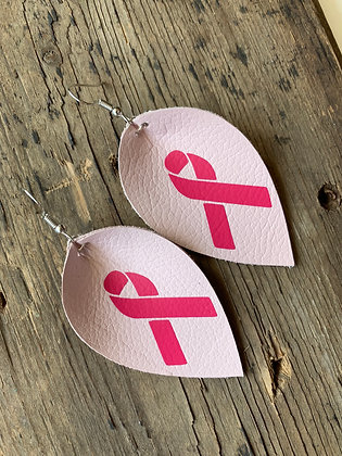 Pink Breast Cancer Ribbon Earrings