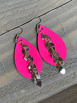 Neon Pink Leather Earrings with Silver Diamond Chain