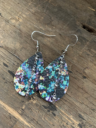 Rainbow Splash Leather Earrings with Silver Ball Chain