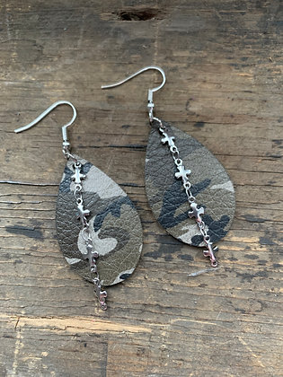 Camo Leather Earrings with Silver Cross Chain