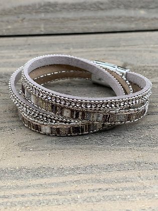 Grey and Brown Rhinestone Double Wrap Magnetic Bracelet