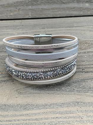 Grey and Silver Rhinestone Magnetic Bracelet