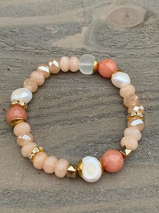 Peach Gemstone Pearl Stretch Bracelet