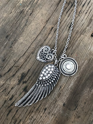 Rhinestone Feather Bullet Necklace