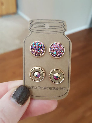 Druzy and Bullet Earrings- 9mm Rose Gold Rainbow