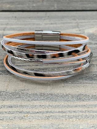 Grey and Silver Leopard Magnetic Bracelet