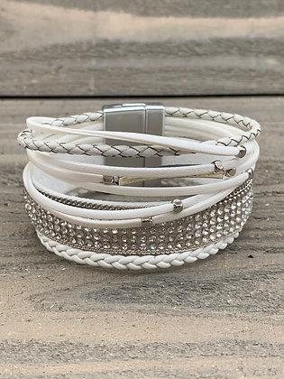 White Rhinestone Magnetic Bracelet