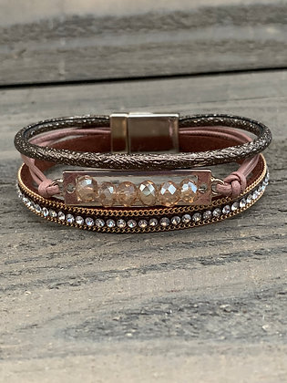 Rose gold and Brown Crystal Magnetic Bracelet
