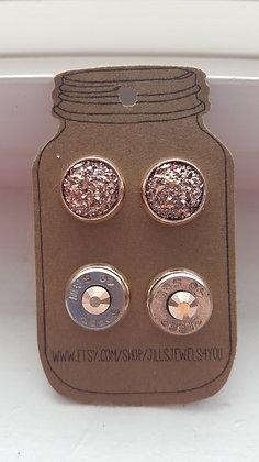 Druzy and Bullet Earrings - 40 Cal Rose Gold