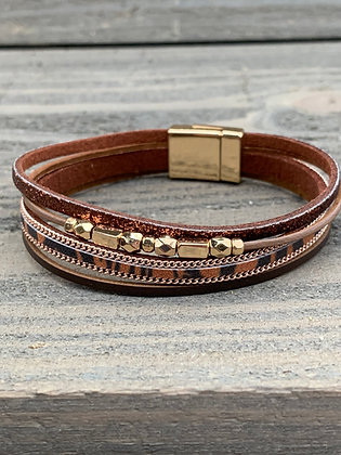 Brown Glitter and Gold Beaded Leopard Magnetic Bracelet
