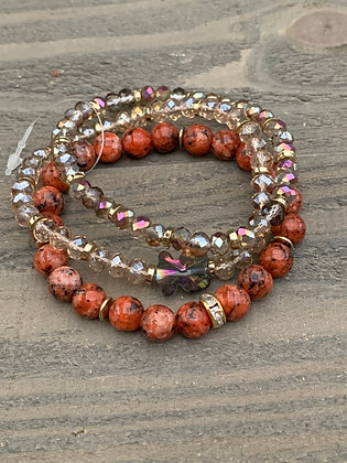 Terra Cotta Gemstone Triple Stacked Stretch Bracelet Set