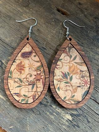 Harvest Floral Cork Stripe Wood Teardrop Earrings