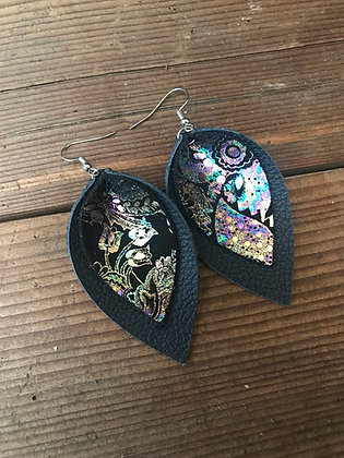 Navy and Rainbow Paisley Earrings