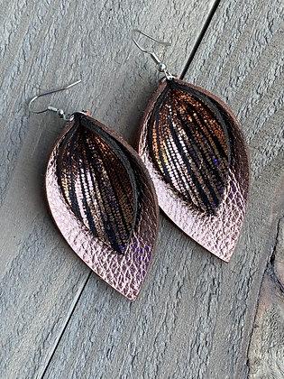 Rose Gold Black Rain leather earrings