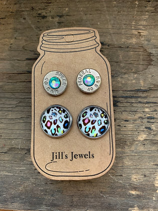 Colored Leopard Print and 40 Caliber bullet earring set