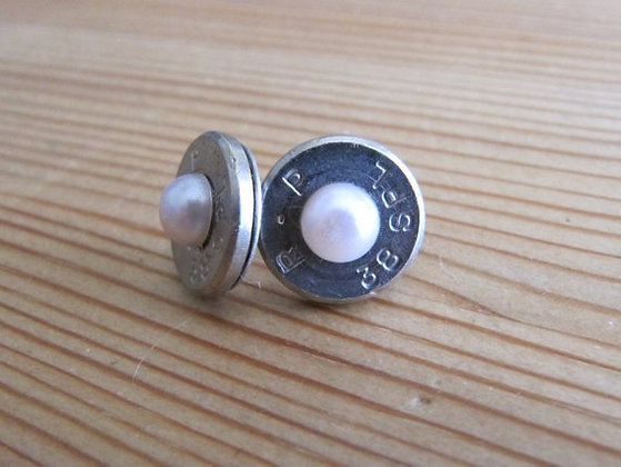 Bullet Earrings- 38 Special Pink Pearl Accent
