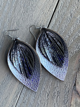 Silver and Black Rain leather earrings