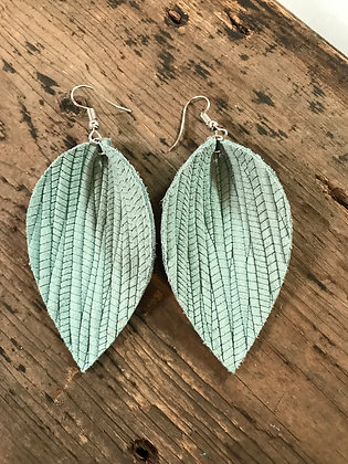 Mint palm leaf textured leather earring