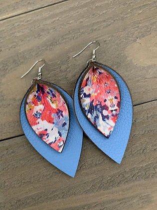 Baby Blue Watercolor  leather earrings
