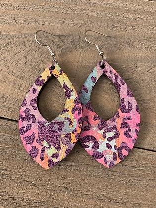 Purple Rainbow Leopard Cork Teardrop Earring