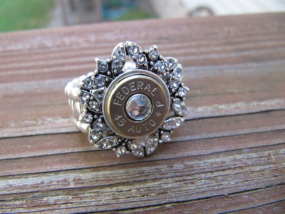 Bullet Ring- 45 Caliber Rhinestones and Swarovski