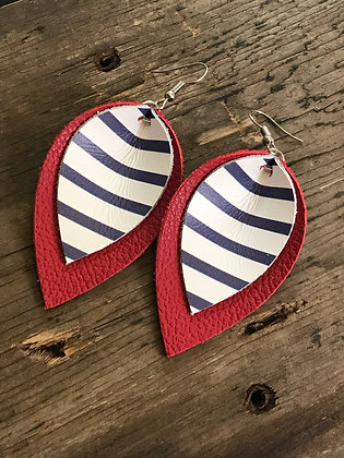 Red Leather earrings with blue and white stripes