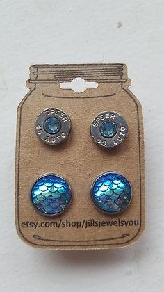 Druzy and Bullet Earrings–38 Cal Baby Blue Mermaid