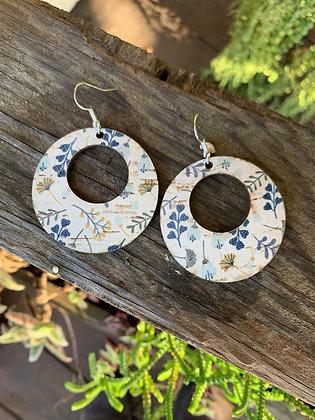 White and Blue Poppy Print Cork Hoop Earring