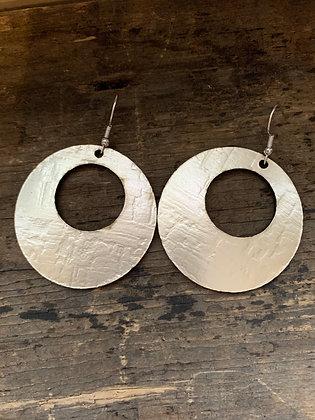 Metallic Platinum Cork Hoop Earring