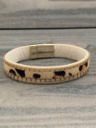 Tan Leopard Gold Magnetic Bracelet