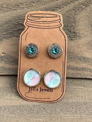 Mint Pastel Aztec 40 Caliber bullet earring set