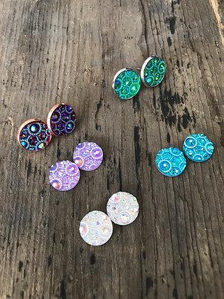 Circle faux Druzy Earrings