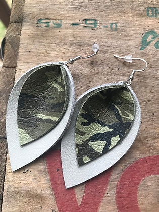 Green and Gray Camo Earrings